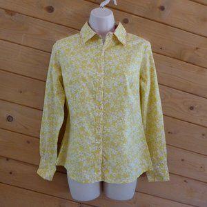 Boden Yellow Floral Long Sleeve Shirt Blouse 10